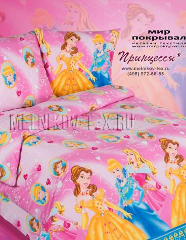 Комплект КПБ из поплина Экзотика (детский) Принцессы-1 1.5 спальный
