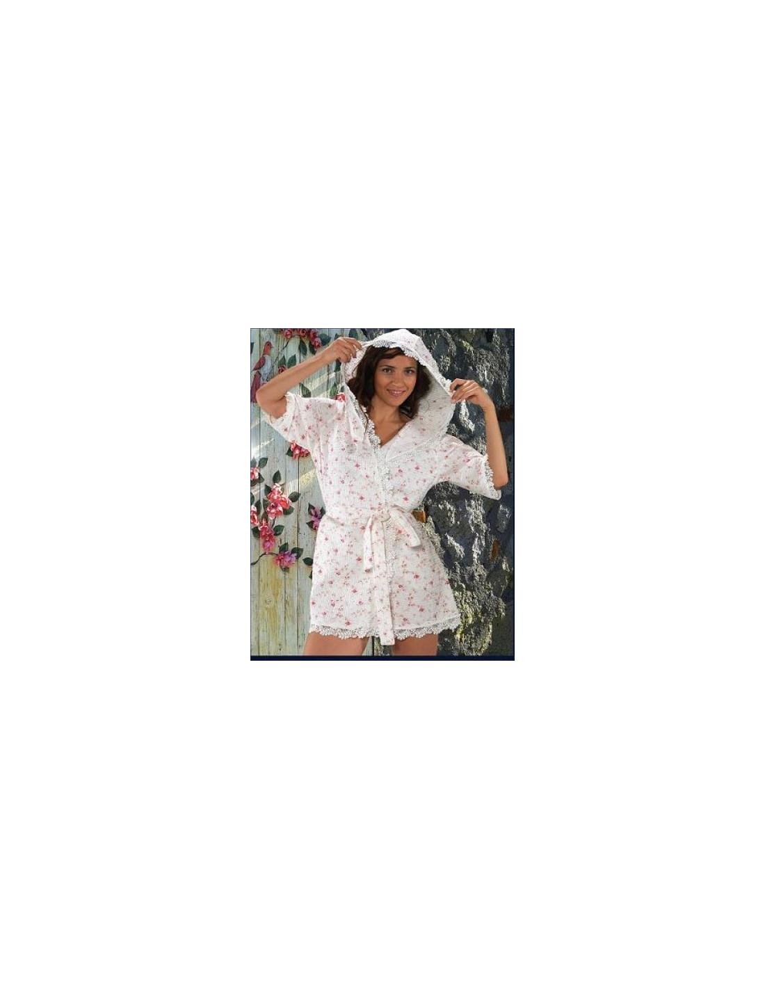 52662cdbcc02c Халат женский Maison D'or ROSES Camile вафельный с капюшоном, кружевом,  короткий
