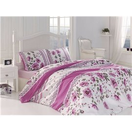 КПБ FirstChoice Polycotton Garden pembe