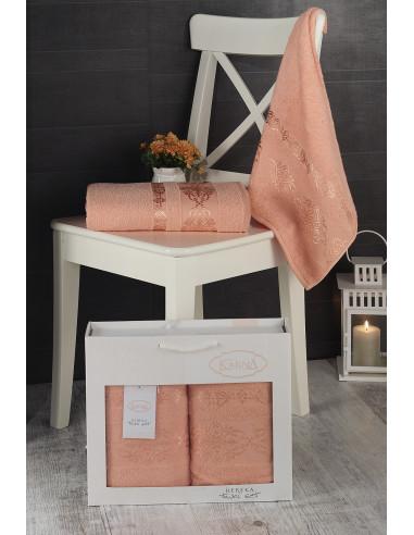 Комплект махровых полотенец Karna REBEKA абрикосовый