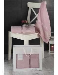 Комплект махровых полотенец Karna REBEKA грязно-розовый