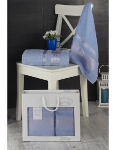 Комплект махровых полотенец Karna REBEKA голубой